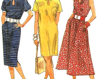 1980s Dress Pattern Vintage Sewing Simplicity Pullover Keyhole Neck Uncut Women's Misses Size 16 - 24 Bust 38 - 46 Inches