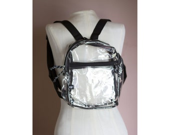 Vintage 90s Grunge Revival PVC Clear Plastic See Through RAVER Mini Backpack