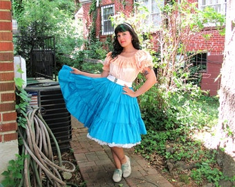 Vintage Turquoise Square Dancing Skirt High Waist Swing Skirt Blue Full Skirt Elastic Waist Rockabilly Lolita Size Small