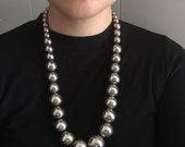 Vtg. Silver Graduated Ball Necklace