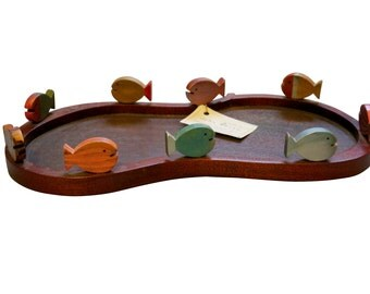 1980s Fish Serving Tray, Wood Table Centerpiece, Vintage Vancouver Island Art