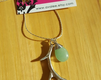 Silver Antler Necklace with Wire Wrapped Green Aventurine, Sterling Silver Chain