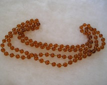 Amber Gripoix French Glass Long Flapper Beaded Hand Knotted Necklace