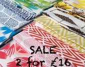 Hand Printed Fabric all Shades - Two fat quarters special offer SALE