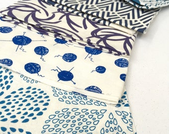 SALE Hand Printed Fabric Mini pieces - Shades of Blue