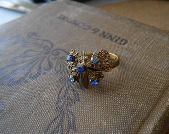 vintage blue rhinestone butterfly filigree costume jewelry ring - witchy hippie boho adjustable band