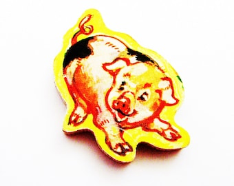 Pig Brooch - Lapel Pin / Upcycled 1960s Wood Hand Cut Puzzle Piece / Piglet Brooch / Yellow - Tan - Black Wood Brooch / Unique Gift Under 20