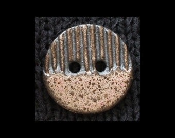 Handmade Ceramic Button: Speckled Rose Pink on Black Basaltic Stoneware