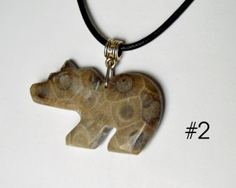 Michigan Petoskey Stone BEAR pendant necklace jewelry hand carved  unisex fossil stone state rock artist carved gift