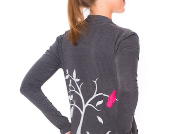 Unique gift for her. Charcoal Gray Soft Jersey Cardigan . Long sleeve convertible Wrap . Office Fashion - The bird and the falling leaves
