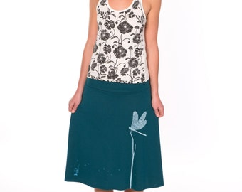 Gift for Her, Skirts for Women, Pull on a-line skirt, Knee length skirt, Midi graphic skirt, Womens cute skirts - Catching the Dragonfly