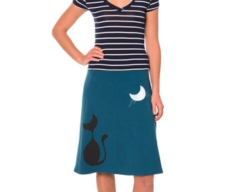 Whimsical gift for women, Plus size skirt for cat lovers, Midi jersey skirt plus size, Cotton skirts for women - Our cat and the moon