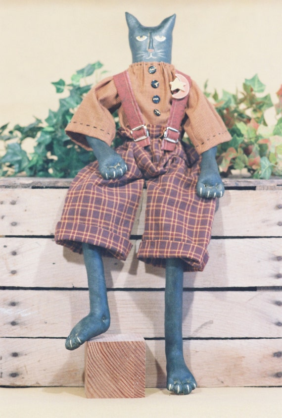 Mailed Cloth Doll Pattern - 24in Folkart Primitive Male Cat