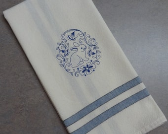 Bunny Towel, Cotton Hand Towel, Embroidered Towel, Easter Towel, Rabbit Towel, Spring Towel, Easter, Bunny Tea Towel, Rabbit Tea Towel