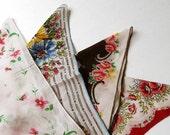 Lot of 4 Vintage 1940 50s Flower Embroidery Handkerchiefs Repurpose Art Project
