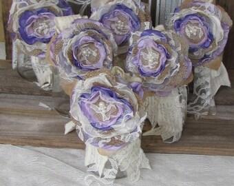 Burlap Mason Jar Lantern,Burlap wedding, wedding decor, wedding lanterns, Rustic lanterns, lavender wedding decor, burlap centerpieces