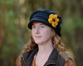 Satin lined fleece winter hat for women - best for natural or curly hair - crochet flower - fleece lining option -  MADE TO ORDER