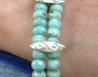 """Multi Strand Cuff bracelet-Aqua and Silver Bangle-""""Riptide"""""""