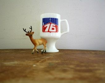 vintage 70s Sears Coffee Mug Powerama 76 Milk Glass Pedestal The Suburban Shop 1976