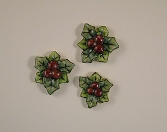 Holly and Berries Embellishment set of 3