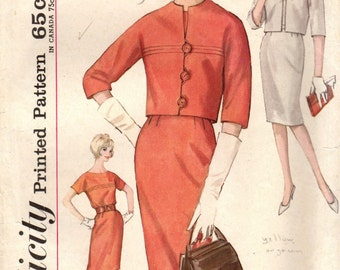 1960s Simplicity 4794 Vintage Sewing Pattern Misses Slim Dress and Cropped Jacket Size16 Bust 36