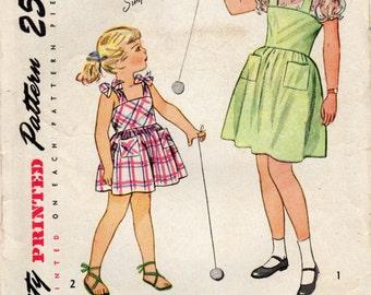 1940s Simplicity 2029 Vintage Sewing Pattern Girls Dress, Sundress, Jumper, Blouse Size 4, Size 7
