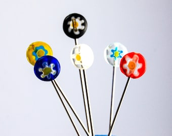 Millefiori Straight Pins - Set of 6 pins extra long