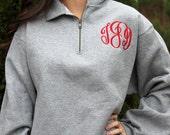 Monogrammed Pullover Sweatshirt - 1/4 Zip Monogrammed Sweatshirt
