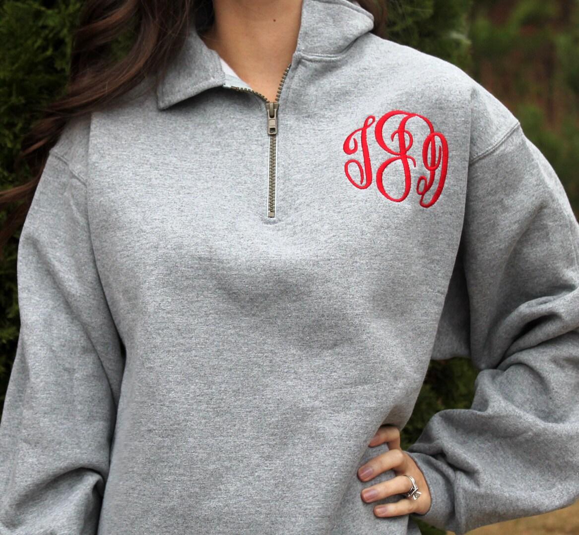SALE Monogrammed Pullover Sweatshirt 1/4 Zip Monogrammed