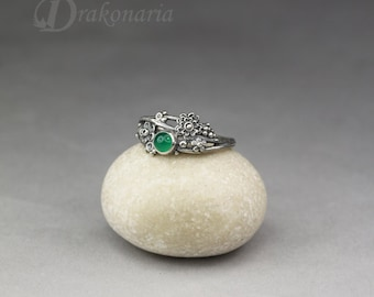 Twig ring - green onyx in silver, sculpted flowers and twigs, limited collection, green stone ring, deep green, emerald green, flower