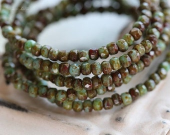 sale .. TUMBLED BITS .. 50 Czech Picasso Rondelle Glass Beads 2x3mm (1558-st)