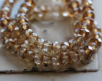 CHAMPAGNE GLITZ .. 30 Premium Picasso Czech Rondelle Glass Beads 3x5mm (4826-st)