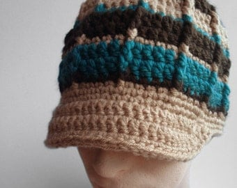 Mens Striped Beanie, Guys Hat, Mens Brimmed Beanie, Striped Hat, Tan, Teal, Brown, Beanie for  Guys, Snowboard Hat Winter Hat, MADE TO ORDER