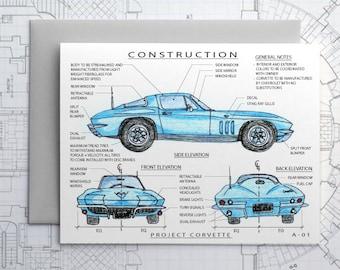 Project Classic Corvette (Blue) -  Blank Architecture Construction Card
