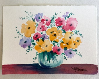 Flowers to Brighten Your Day an Original Watercolor Painting 5x7 inch
