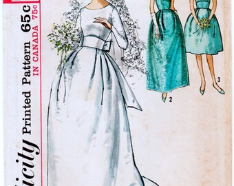 Vintage 1960s Misses MAD MEN Wedding Gown or Brides Dress Sewing Pattern Bust 32 Simplicity 5342
