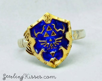 Zelda Shield and Master Sword Ring in Sterling Silver