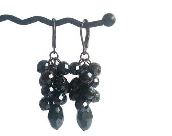 Dark Diva - Grey Earrings - Charcoal Hematite Gemstone Bead Cluster Dangle Earrings - Mishimon Designs