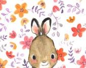 Children's Art -- Whimsy Floral Rabbit -- Art Print