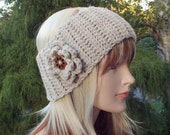 Oatmeal Ear Warmer, Crochet Headband with Flower, Beige Head Wrap, Womens Ski Band, Chunky Earwarmer, Winter Headband, Gift for Her