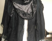 black and grey pashmina shawl wrap with vintage and contemporary lace