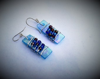 Stained Glass Earrrings Art Glass Jewelry Wire Wrapped Blue Iridescent