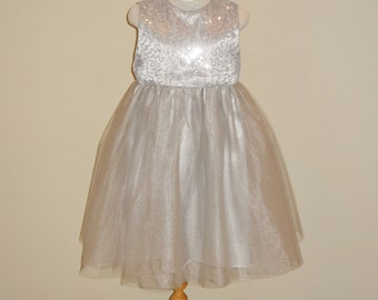 SALE, Holiday sequin dress, Flower Girl dress, Junior Bridesmaid, Silver Sequin & Tulle Dress, Special occassion, Ready to ship