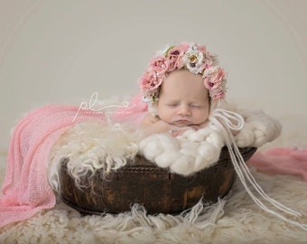 Baby hat, Baby Photo Prop, Newborn Photo Prop, Knit Baby Bonnet, Newborn Baby Girl Hat, Baby Hat, Knit Baby Hat, Rose bonnet, Ivory Bonnet