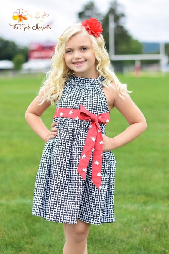 University of Alabama Dress - Alabama Dress - Girls Black and Red Dress - Girls Houndstooth Dress - Elephant Dress - Football Dress