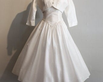 Vintage 1950's Wedding Dress ~ Vintage 50s Courthouse Wedding Dress With Matching Bolero Jacket By Carole King