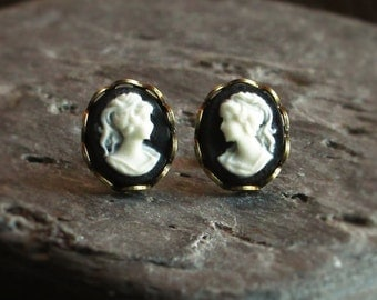 Black cameo stud earrings, tiny cameo posts, classic cameo studs, cameo jewelry, Jane Austen, gift ideas for her, unique holiday gift