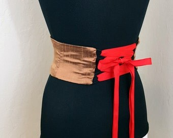 Copper Dupioni Silk Obi Belt Corset Waist Cincher Any Size Dark Gold