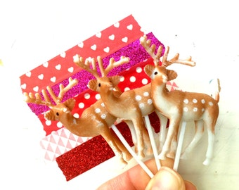 Plastic Deer Topper With Pick, Snow Globe Deer, and Diorama Art, A Set Of SIX