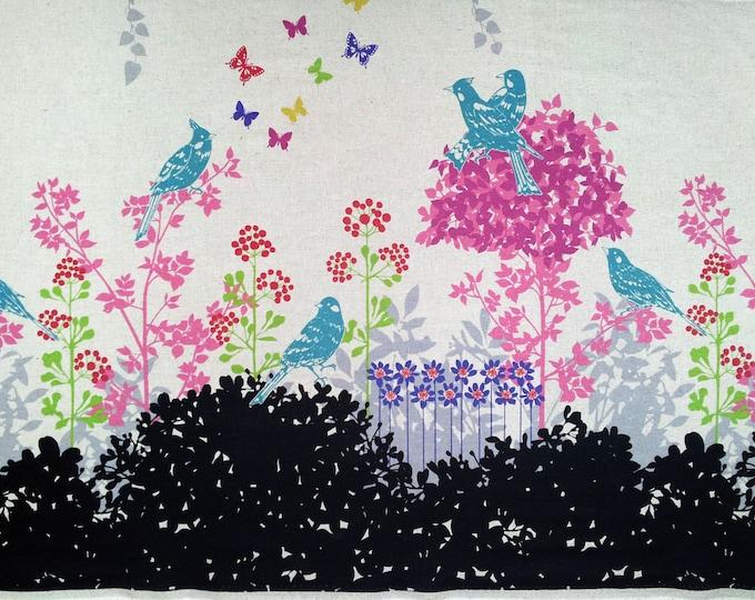 Echino by Etsuko Furuya - Border Cotton Linen Fabric - Perched Birds Wish EF700 Black, select a length